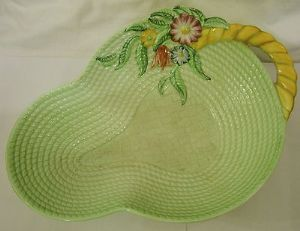 Carlton Ware 'Basket' Green Embossed Serving Open Bowl with Handle - 1940s